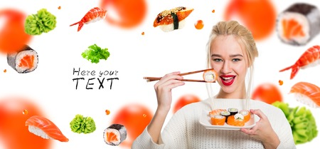 White-haired girl eating sushi with a chopsticks, isolated on white