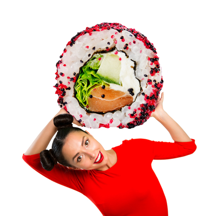 Young beautiful woman holding sushi, isolated on white