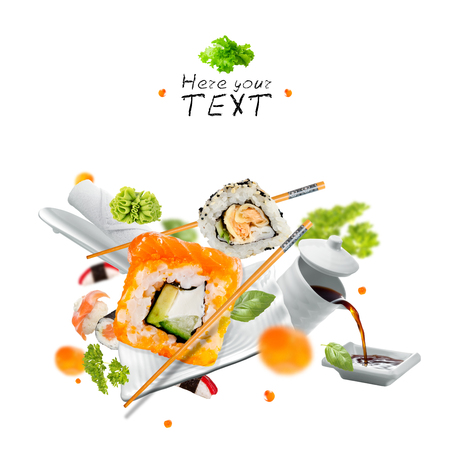 Delicious pieces of sushi, isolated on white background Stock Photo