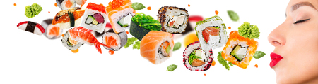 Delicious pieces of sushi, isolated on white background Reklamní fotografie