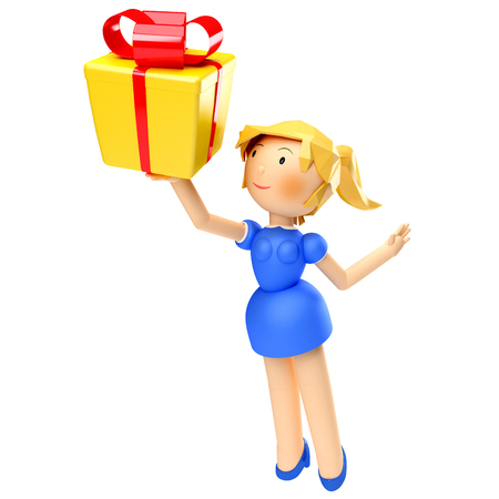 3D Render of happy woman holding gift box, isolated on white background Reklamní fotografie