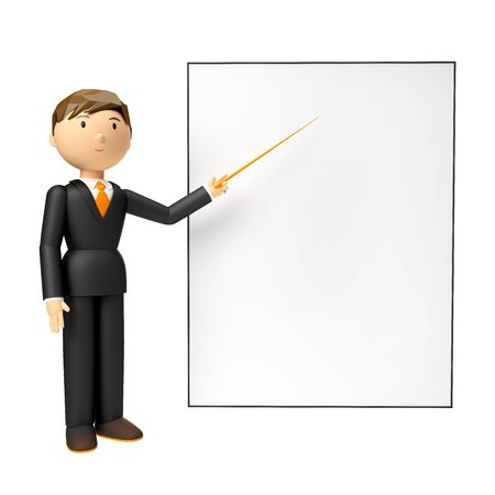 3d render of man holding blank board and pointing finger at it over white background Reklamní fotografie