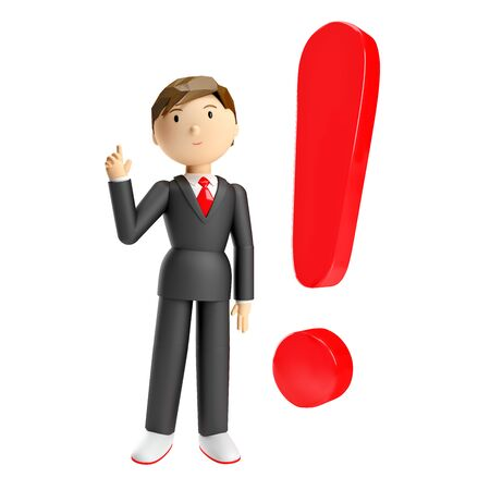 3d render of businessman red exclamation mark Stock Photo