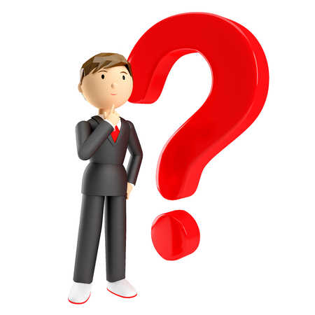 3d render of man with red question mark over white background