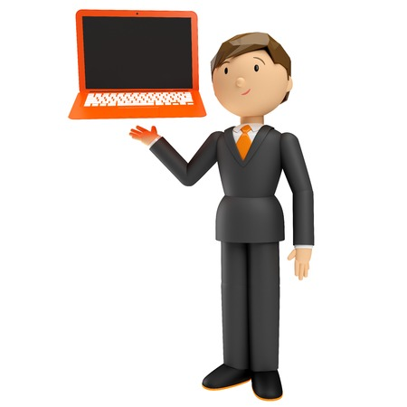 part time: 3d render of human with laptop isolated on white background