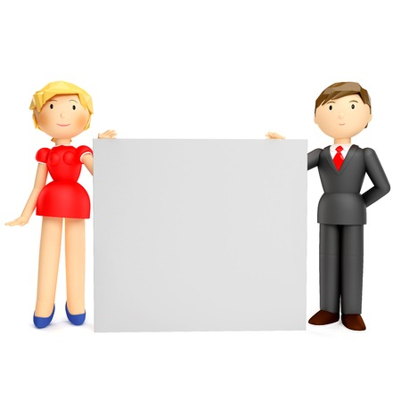 3D render of business man and woman holding blank board