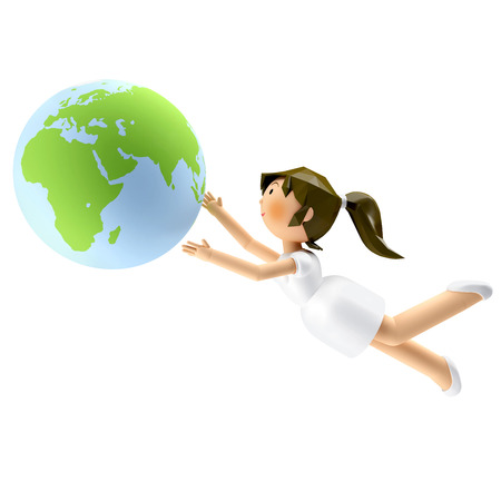 3D Render of smiling beautiful woman looking at the earth in her hand Stock Photo