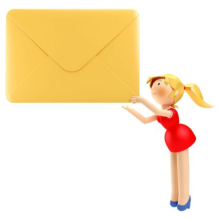 3D Render of young business woman holding a yellow envelope letter in her hand Stock Photo