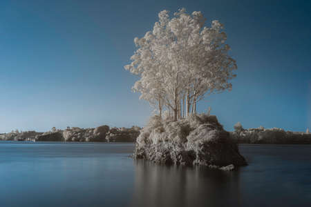 The minimal Island, infrared beauty image Stock Photo