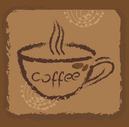 Coffee cup in retro background Vector