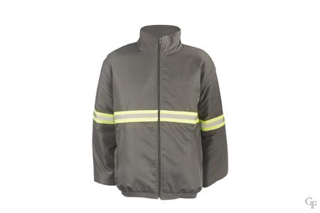 reflective: reflective band, white, jacket, gray jacket, jacket with reflective strip, clothes, jackets Stock Photo