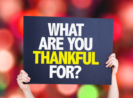 What Are You Thankful For? card with bokeh background Stock Photo