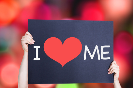 individualism: I Love Me card with bokeh background