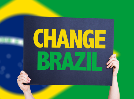 protestors: Change Brazil card with brazil flag Stock Photo