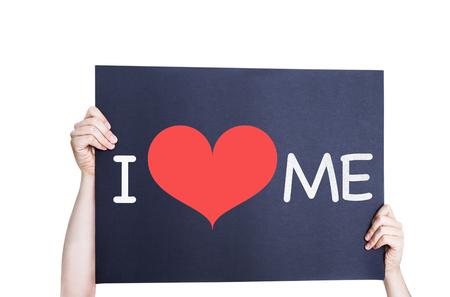 egoistic: I Love Me card isolated on white background