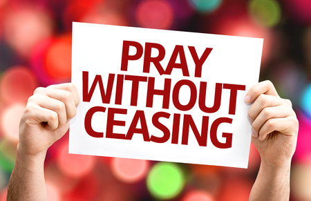 ceasing: Pray Without Ceasing card with colorful background with defocused lights