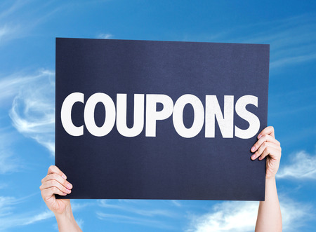 discount banner: Coupons card with sky background
