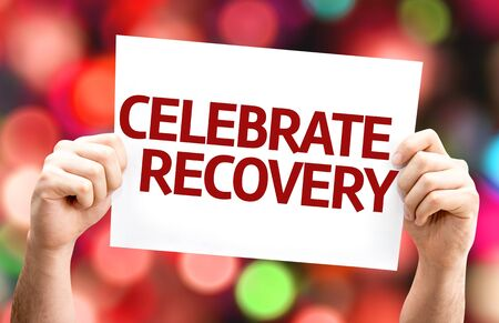 economic recovery: Celebrate Recovery card with colorful background with defocused lights