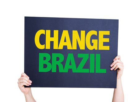 protestors: Change Brazil card isolated on white background Stock Photo