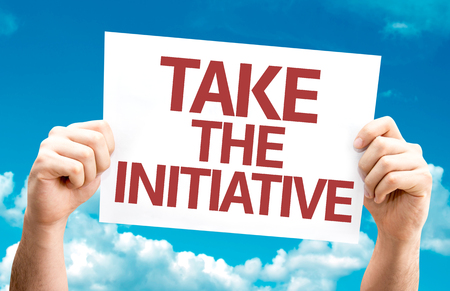 initiative: Take the Initiative card with sky background Stock Photo
