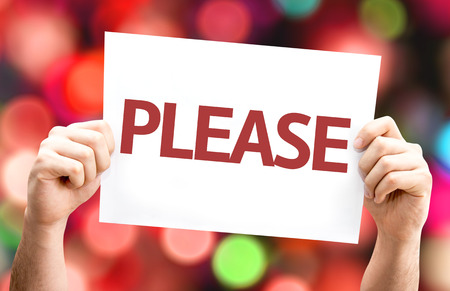 imploring: Please card with bokeh background