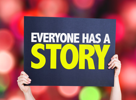 everyone: Everyone Has a Story card with bokeh background