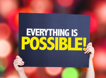 achievable: Everything is Possible card with colorful background with defocused lights Stock Photo