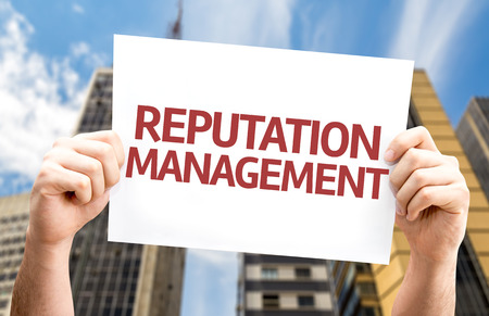 credible: Reputation Management card with a urban background Stock Photo