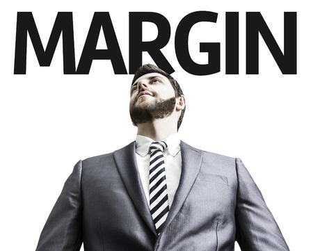 margen: hombre de negocios con el Margen texto de la imagen en un concepto