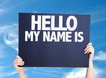 hello my name is: Hello My Name Is card with sky background Stock Photo
