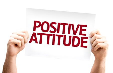 mentality: Positive Attitude card isolated on white background Stock Photo