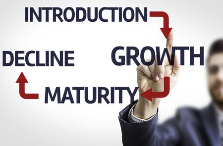 maturity: Business man pointing to transparent board with text: Introduction Growth Maturity Decline