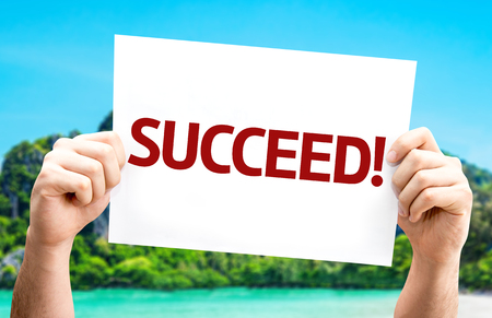 succeed: Succeed! card with beach background Stock Photo