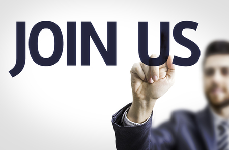 advertise with us: Business man pointing to transparent board with text: Join Us Stock Photo