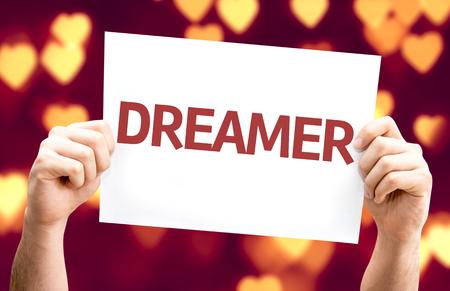 carte Dreamer avec le coeur bokeh Banque d'images