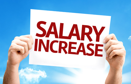 monthly salary: Salary Increase card with a beautiful day