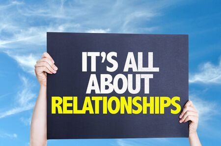 It's All About Relationships card with sky background