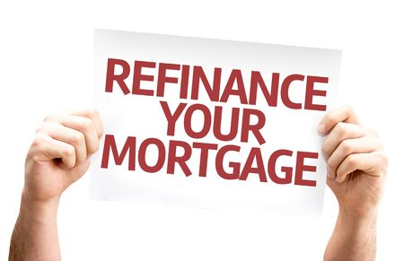 refinance: Hands holding Refinance Your Mortgage card isolated on white background