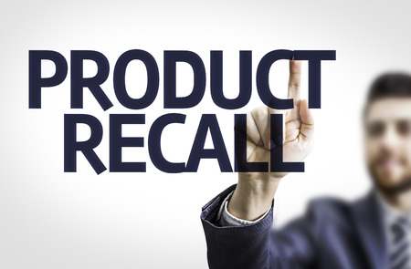 recall: Business man pointing the text Product Recall