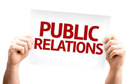 relations: Public Relations card isolated on white background Stock Photo