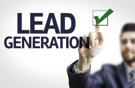 lead: Business man pointing the text: Lead Generation
