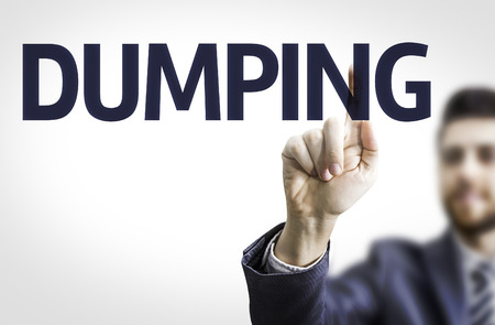 dumping: Business man pointing to transparent board with text: Dumping