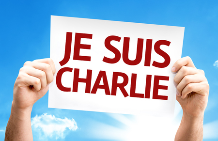 tribute: I am Charlie (In French) card with a beach on background