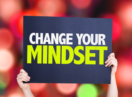 mindset: Change Your Mindset card with colorful background with defocused lights