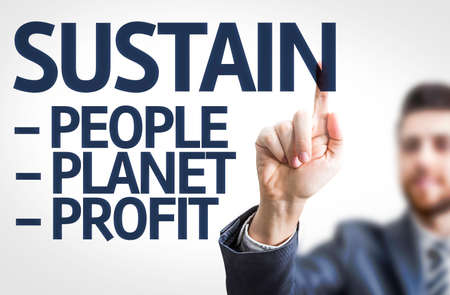 sustain: Business man pointing to transparent board with text: Sustain Descriptions Stock Photo