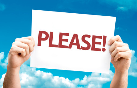 imploring: Hands holding Please card with sky background Stock Photo