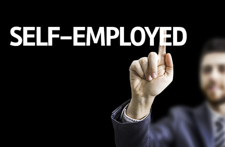 selfemployed: Business man pointing to black board with text: Self-Employed