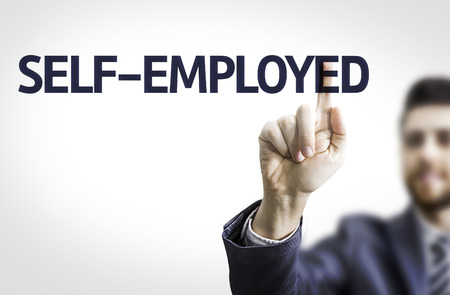 selfemployed: Business man pointing the text Self-Employed Stock Photo