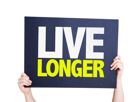 longer: Hands holding blackboard with Live Longer on white background