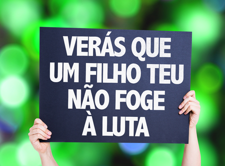 protestors: You will see that your son does not escape the fight (in Portuguese) card with bokeh background